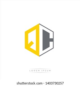 QC Logo Initial Monogram Negative Space Design Template With Yellow and Grey Color - Vector EPS 10