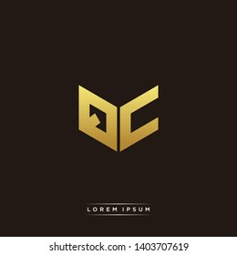 QC Logo Letter Initial Logo Designs Templete with Gold and Black Background