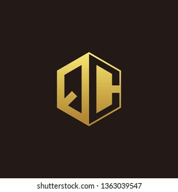 QC Logo Monogram with Negative space gold colors