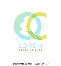 QC natural logo design with yellow and ocean blue color that can be used for creative business and advertising. CQ logo is filled with bubbles and dots, can be used for all areas of the company