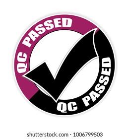 Qc passed sticker,vector illustration