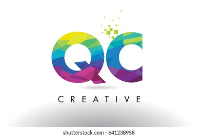 QC Q C Colorful Letter Design with Creative Origami Triangles Rainbow Vector.