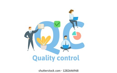 QC, Quality Control. Concept with keywords, letters and icons. Colored flat vector illustration. Isolated on white background.