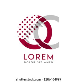 QC simple logo design with Gray and maroon color that can be used for creative business and advertising. CQ logo is filled with bubbles and dots, can be used for all areas of the company