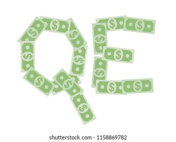 QE - quantitative easing - US dollar banknotes are printed by Central bank in USA - economics of inflation and devaluation of currency. Vector illustration