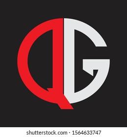 QG Initial Logo design Monogram Isolated on black background