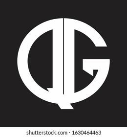 QG Initial Logo design Monogram Isolated on black and white