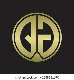 QG Logo monogram circle with piece ribbon style on gold colors
