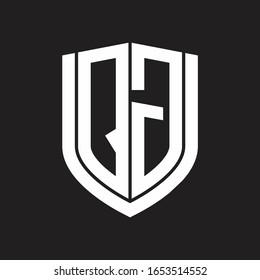 QG Logo monogram with emblem shield design isolated on black background
