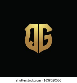 QG logo monogram with gold colors and shield shape design template