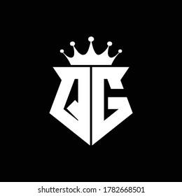 qg logo monogram shield shape with crown design template