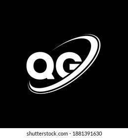 QG logo. Q G design. White QG letter. QG Q G letter logo design. Initial letter QG linked circle uppercase monogram logo.