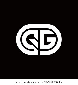 QG monogram logo with an oval style on a black background