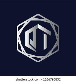 QI Initial letter hexagonal logo vector