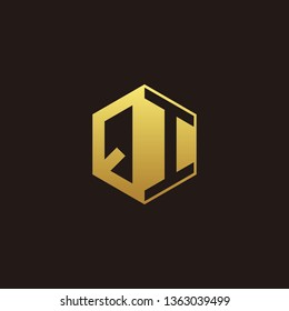 QI Logo Monogram with Negative space gold colors