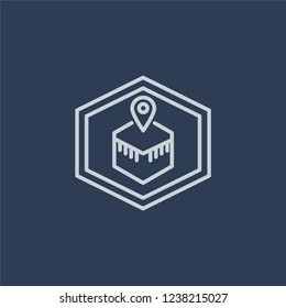 Qibla icon. Trendy flat vector line Qibla icon on dark blue background from Religion  collection.