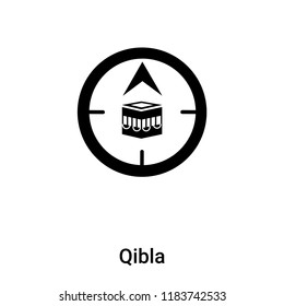 Qibla icon vector isolated on white background, logo concept of Qibla sign on transparent background, filled black symbol