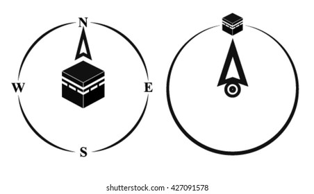 Qibla - muslim prayer direction. Kaaba direction. Mecca. Saudi Arabia. Qibla - Islamic (Arab) term used for the direction for offering a prayer, which is Kaaba in Mecca. Vector isolated illustration.