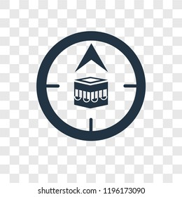 Qibla vector icon isolated on transparent background, Qibla transparency logo concept
