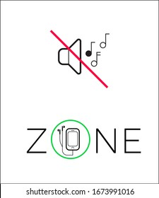 Qiet zone sign, no loud music or talk. Please, keep silent and use headphones.