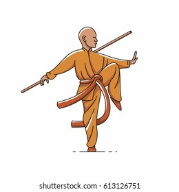 Qigong, Tai chi, vector outline illustration,