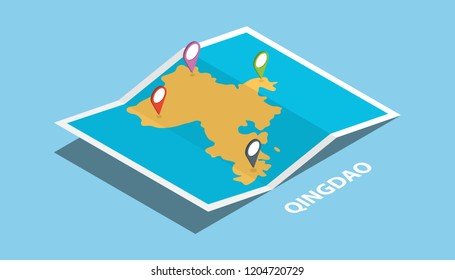 qingdao in eastern shandong province china explore maps with isometric style and pin location tag on top vector illustration