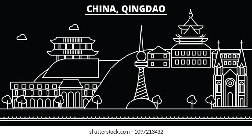 Qingdao silhouette skyline. China - Qingdao vector city, chinese linear architecture, buildings. Qingdao travel illustration, outline landmarks. China flat icons, chinese line banner