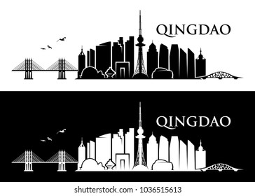 Qingdao skyline - Chine - vector illustration