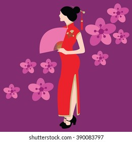 qipao chinese traditional dress costume clothes red china asia vector drawing illustration flower