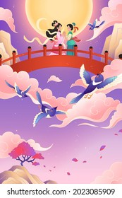 Qixi festival banner. Illustration of weaver girl and cowherd holding hand on the bridge close to the full moon