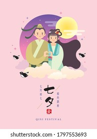 Qixi festival or Tanabata festival. Cartoon cowherd & weaver girl with love gesture. Flat vector illustration. (caption: 7th July, QiXi festival ; Let's have a date on magpie bridge)