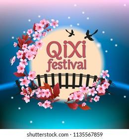 Qixi or Tanabata festival Vector illustration,