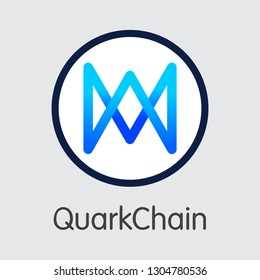 QKC - Quarkchain. The Market Logo or Emblem of Crypto Coins, Market Emblem, ICOs Coins and Tokens Icon.