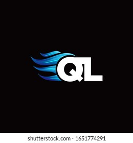 QL monogram logo with blue fire style design template
