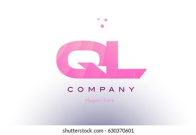 ql q l letter alphabet text pink purple dots creative company logo vector icon design template