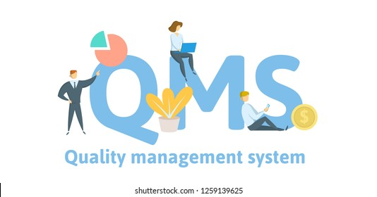 QMS, quality management system. Concept with keywords, letters, and icons. Colored flat vector illustration. Isolated on white background.