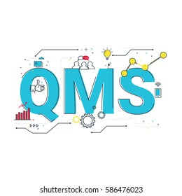 QMS; quality management system word design, typographic illustration with flat vector icons for website banner, management topic presentation, bussiness.