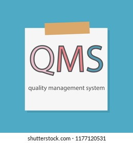 QMS Quality management system written in a notebook paper- vector illustration