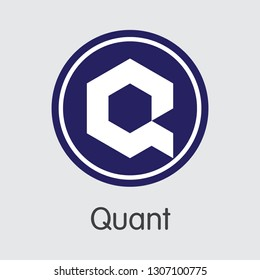 QNT - Quant. The Market Logo or Emblem of Crypto Coins, Market Emblem, ICOs Coins and Tokens Icon.