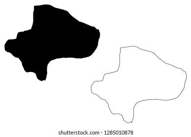 Qom Province (Provinces of Iran, Islamic Republic of Iran, Persia) map vector illustration, scribble sketch Qom map