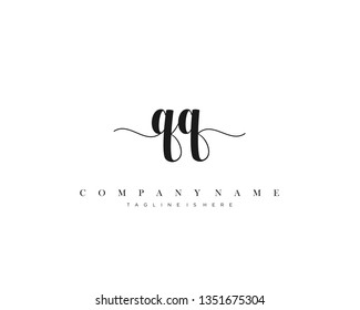 QQ initial handwriting logo template with luxury color vector.