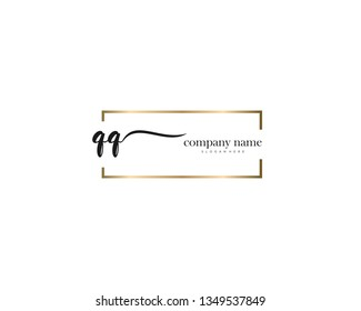 QQ Initial handwriting logo vector. Hand lettering for designs.