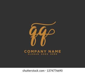 QQ Initial Handwriting Logo Vector