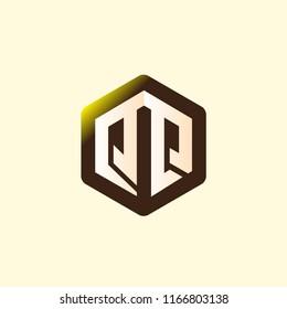 QQ Initial letter hexagonal logo vector