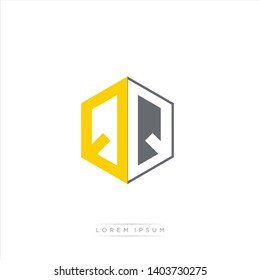 QQ Logo Initial Monogram Negative Space Design Template With Yellow and Grey Color - Vector EPS 10
