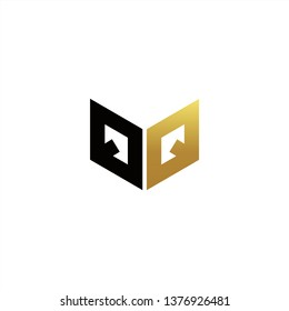 QQ Logo Letter Initial With Black and Gold Colors