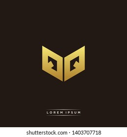 QQ Logo Letter Initial Logo Designs Templete with Gold and Black Background