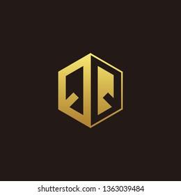 QQ Logo Monogram with Negative space gold colors