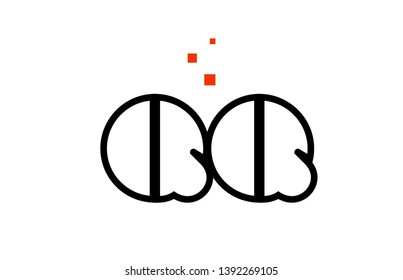 QQ Q Q black white red dots alphabet letter combination suitable as a logo icon design for a company or business