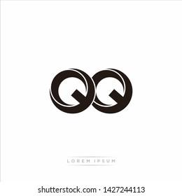 qq q Initial Letter Split Lowercase Modern Monogram linked outline rounded logo